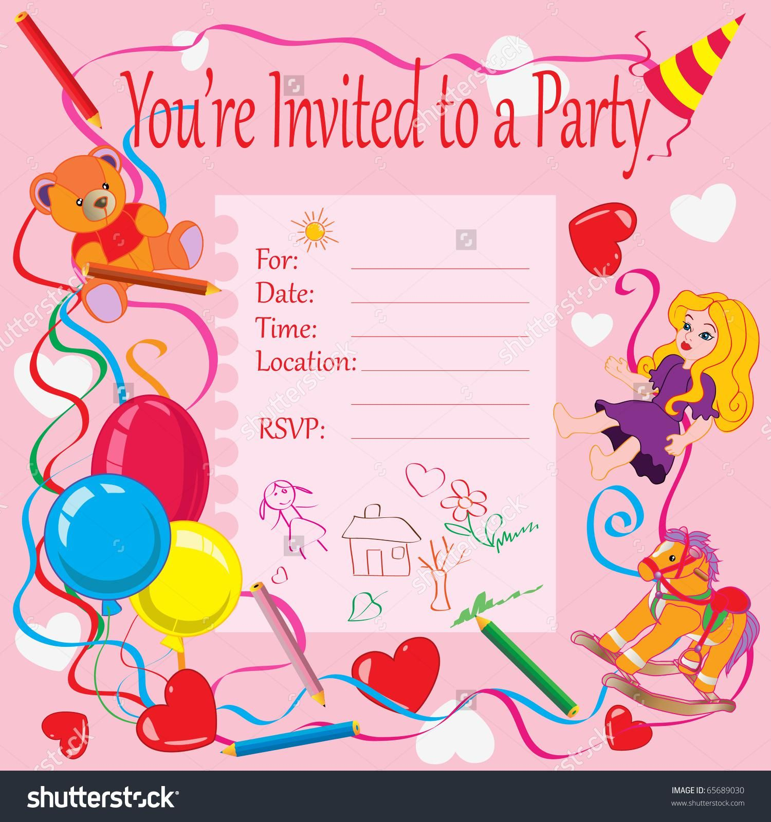 Printable Invitation Card for Birthday Party for Kids in