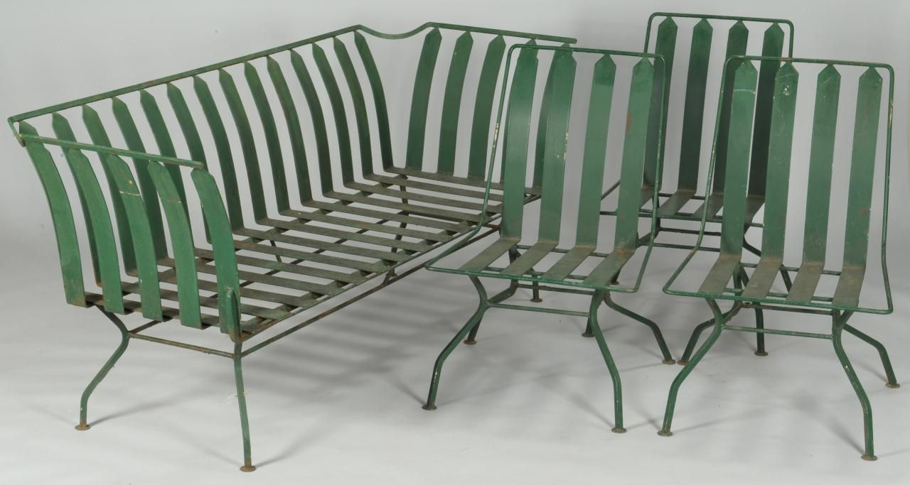 Lot 10: French Art Deco Patio Furniture: settee & 10 chairs