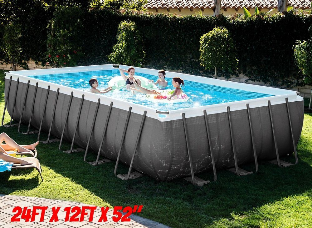 Swimming Pool Above Ground Steel Frame Rectangular Large Swim Set