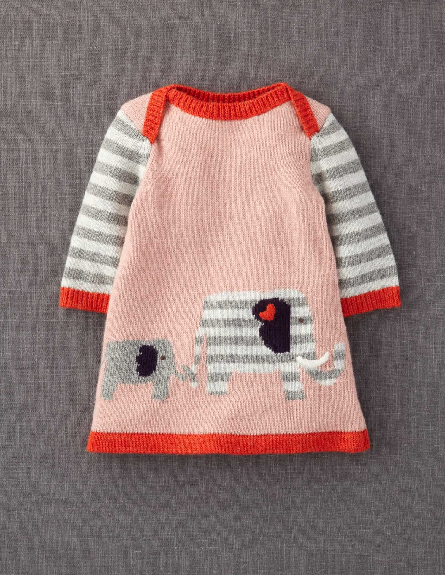 e752fef8ea7351  boden  magicalmenagerie Mini Boden My Baby Knitted Dress The elephants  went in two by two.