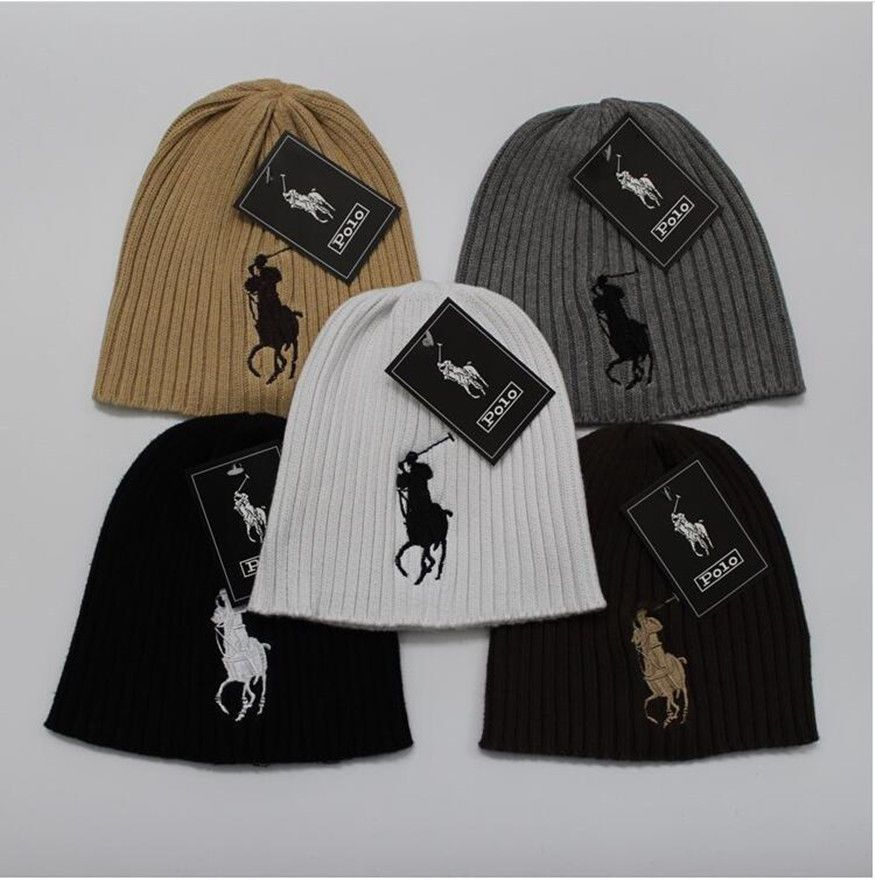 Solid Color Knitted Hat Men Women Knit Winter Polo Logo Beanie Skull Cap  Hip Hop 890617829d0