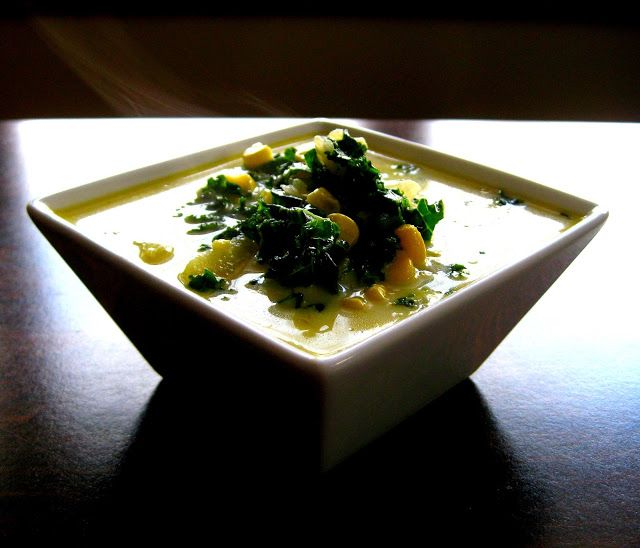 Corn, Kale & Potato Chowder.  Substituted for sweet potatoes