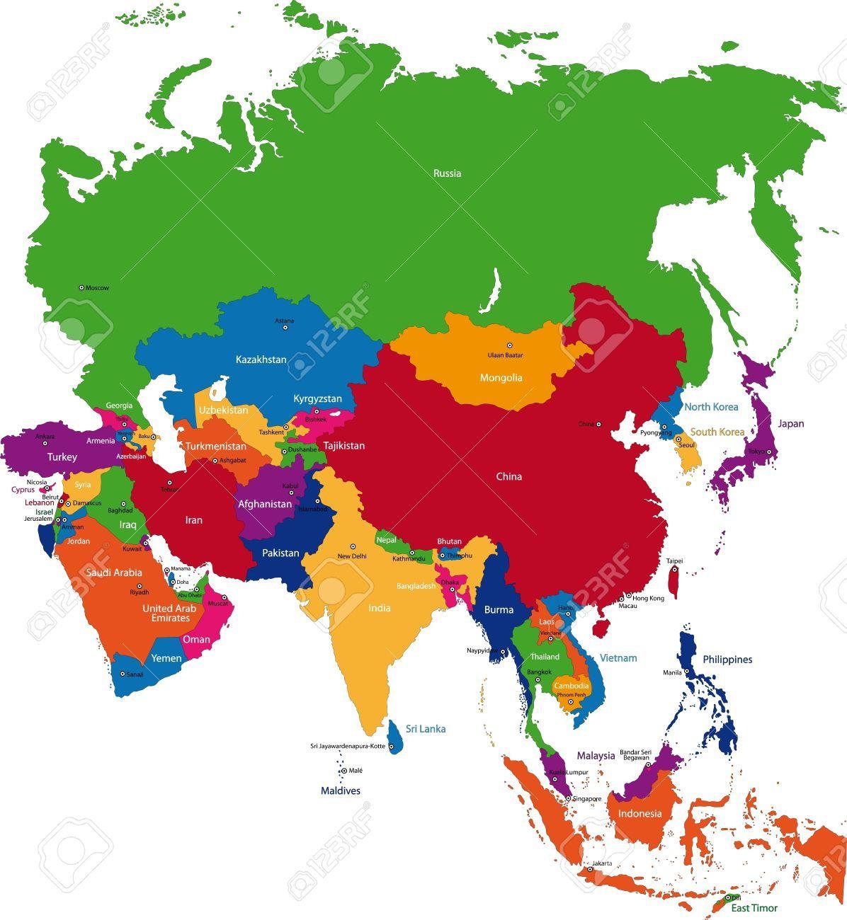 Landkarte Asien.Asien Lander Zemepis Asien Landkarte Asien Karte Und