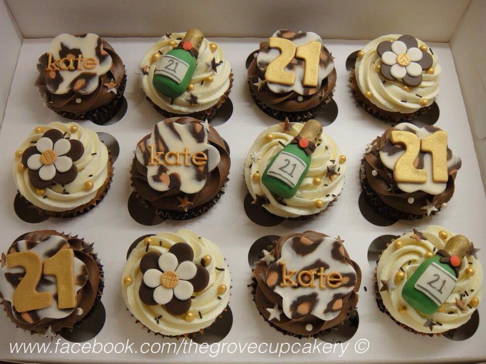 Cupcakes leopard print gold brown cream leopard print themed 21st birthday cupcakes - Creme decoration cupcake ...