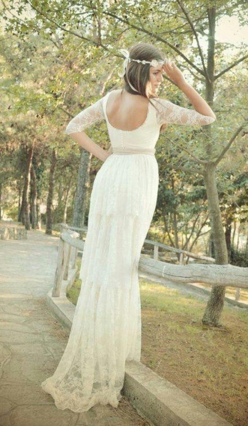 Boho lace wedding dress bridal gownaline volume pinterest