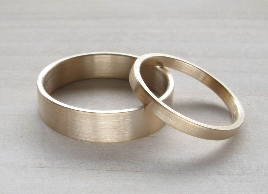 6x1mm Flat Mens Wedding Band Bespoke Ecofriendly Recycled Gold