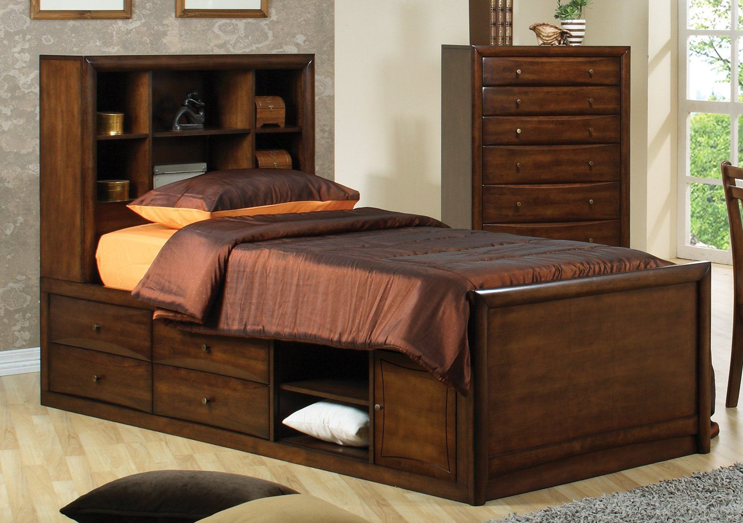 Warm Brown Transitional Hillary Collection Full Bed