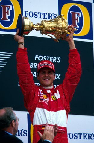 Michael Schumacher Ger Ferrari With The Winners Trophy On The