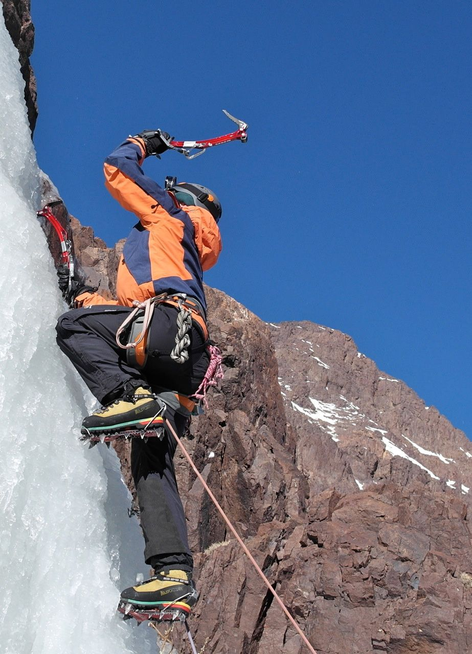 Ice Climbing on Afella at Moroccan High Atlas KragRags