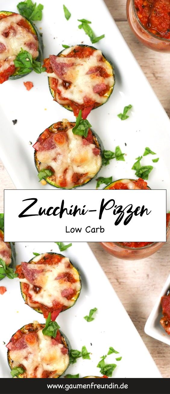 Photo of Low carb zucchini pizzas with salami and mozzarella