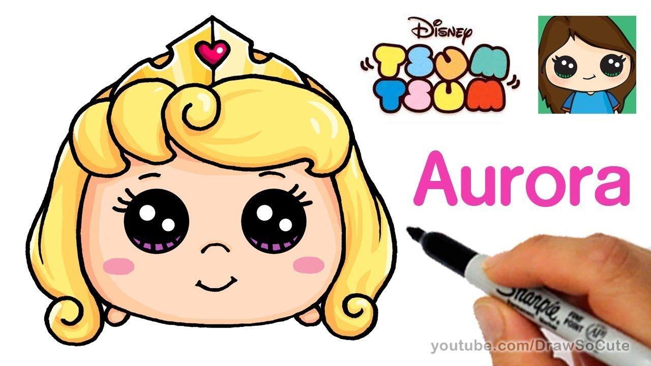 Como Dibujar Y Pintar A Tsum Tsum De Ariel 2: How To Draw Aurora Sleeping Beauty
