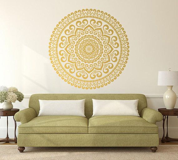 Gold Mandala #Vinyl Wall Decal #Master Bedroom Décor #Art Print ...