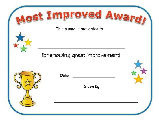 most improved award classroom pinterest award certificates