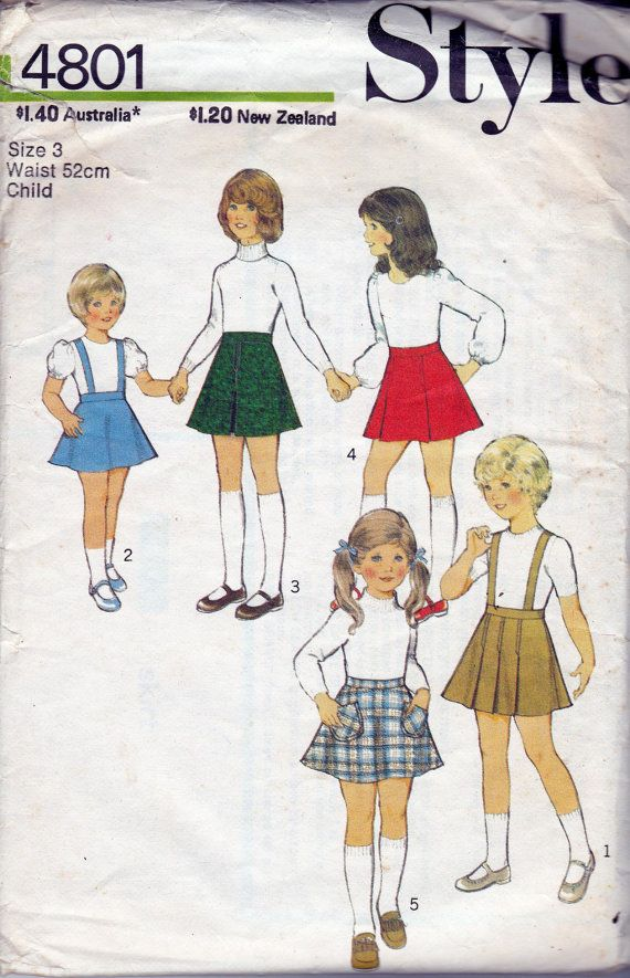 70s Vintage Girls sewing pattern Style 4801 Skirts & Pinafore ...