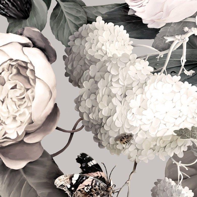 Dark Floral II Gray