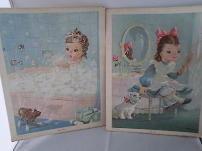 """Collectable vintage puzzle tray pair 2 """"Bath Time"""" and Play Time 1957 Helena P"""
