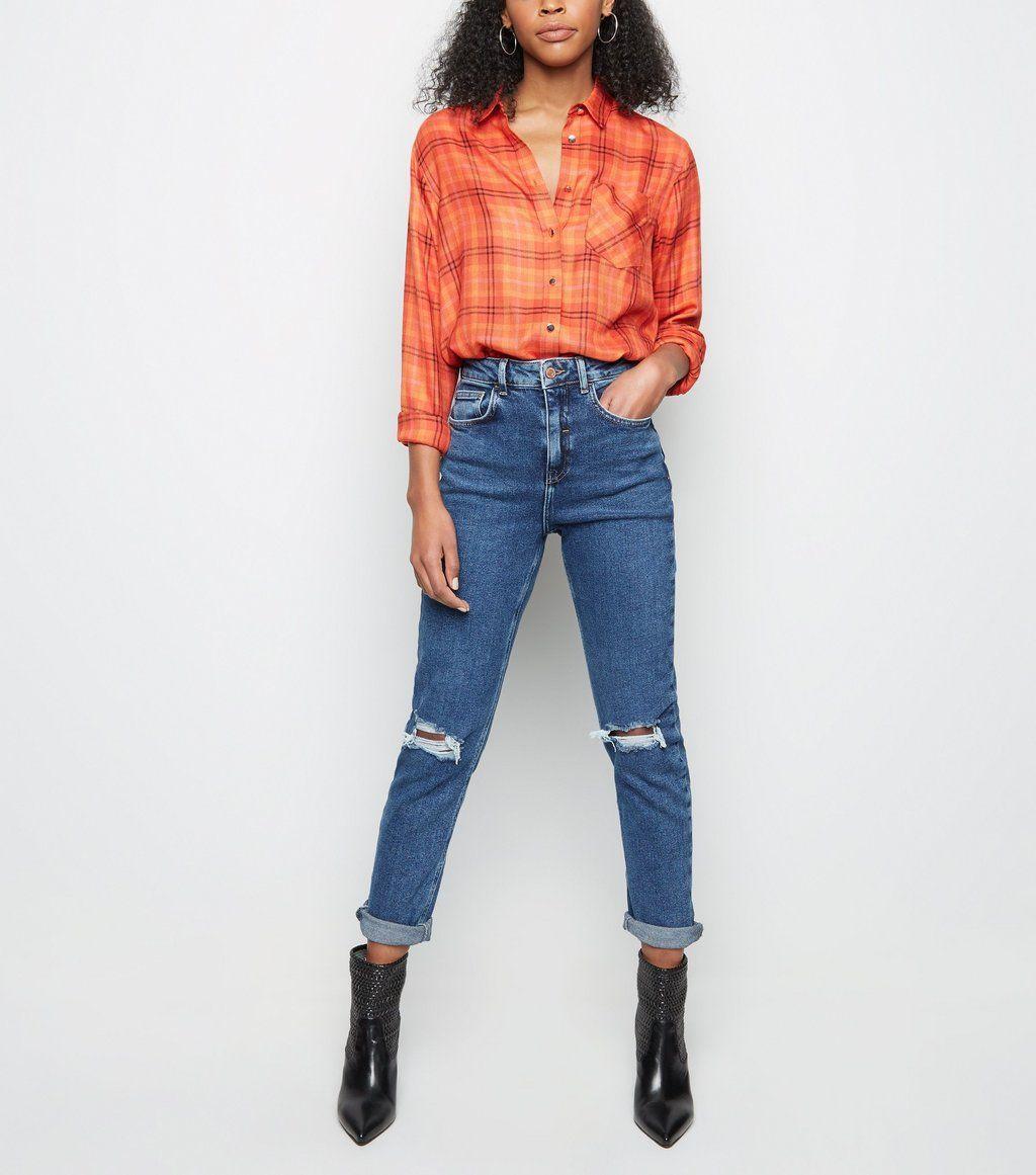d6fc2a49ca Black Ripped Knee Slim Leg Tori Mom Jeans in 2019
