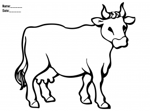 Printable Coloring Page Cow Animal Farm Cow Coloring Pages Animal Coloring Pages Farm Animal Coloring Pages