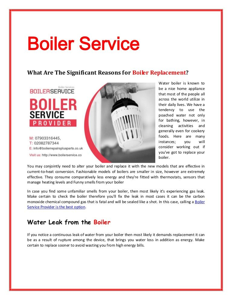 If you notice a continuous leak of water from your boiler then most ...