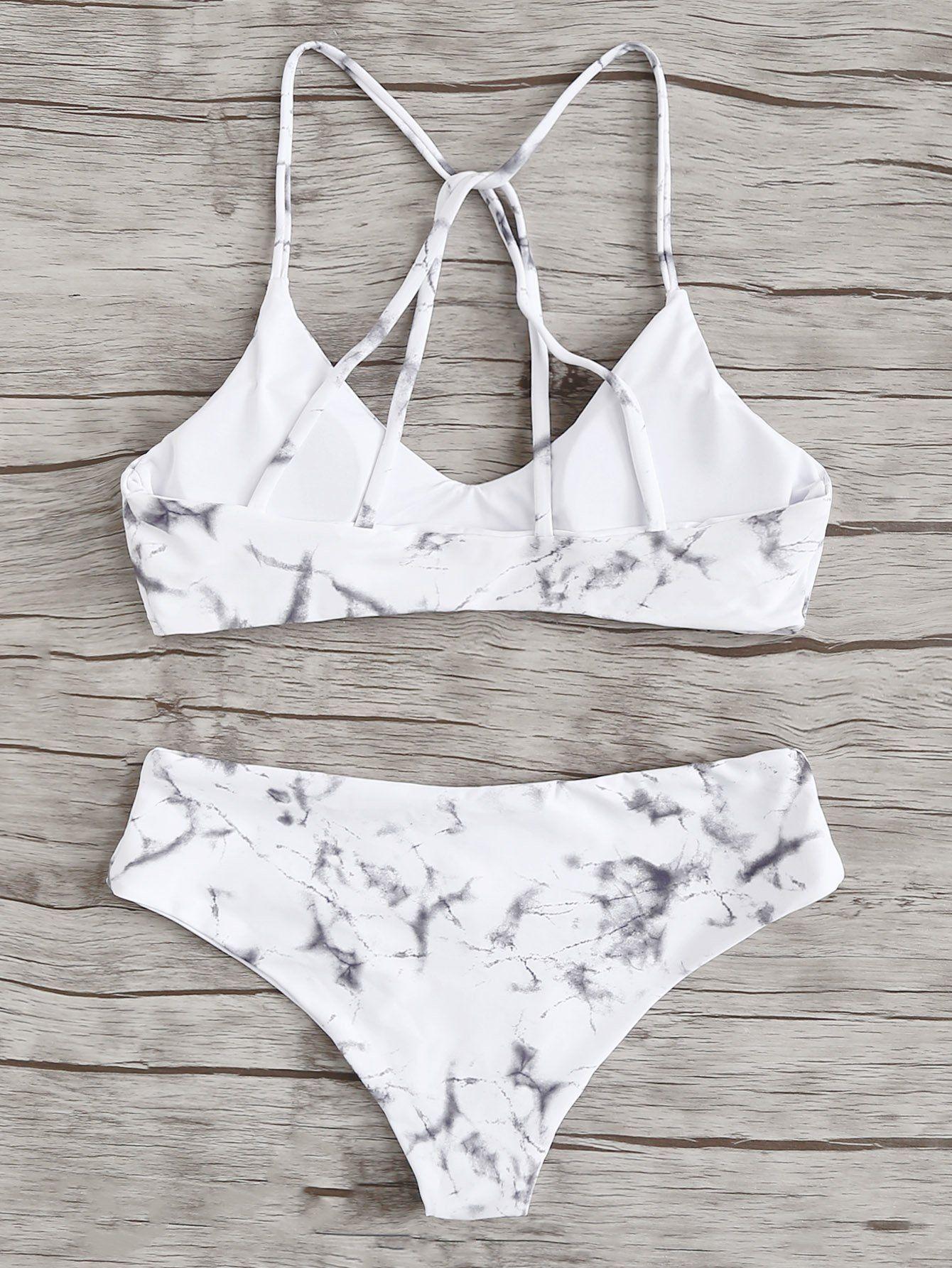 a4acc1fae0 Marble Print Bikini Set -SheIn(Sheinside) | cute swimwear. in 2019 ...