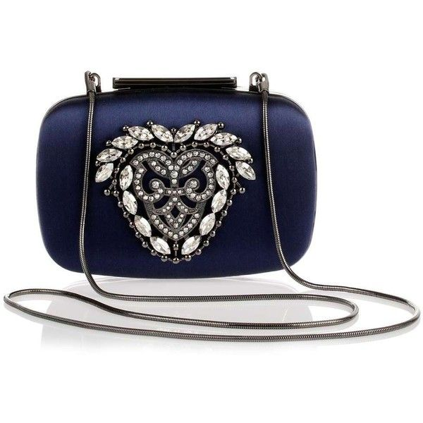 Manolo Blahnik Kana navy satin clutch (6.730 BRL) ❤ liked on Polyvore featuring bags, handbags, clutches, manolo blahnik, satin purse, blue clutches, navy clutches en blue handbags