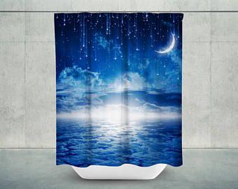 Starry Night Bath Shower Curtain | Moon Bath Curtain | Moon Bathroom Decor  | Moon Bath