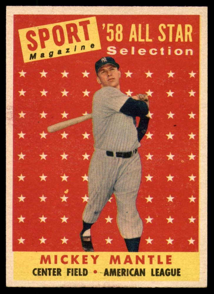 1958 topps 487 mickey mantle near mint yankees as tp
