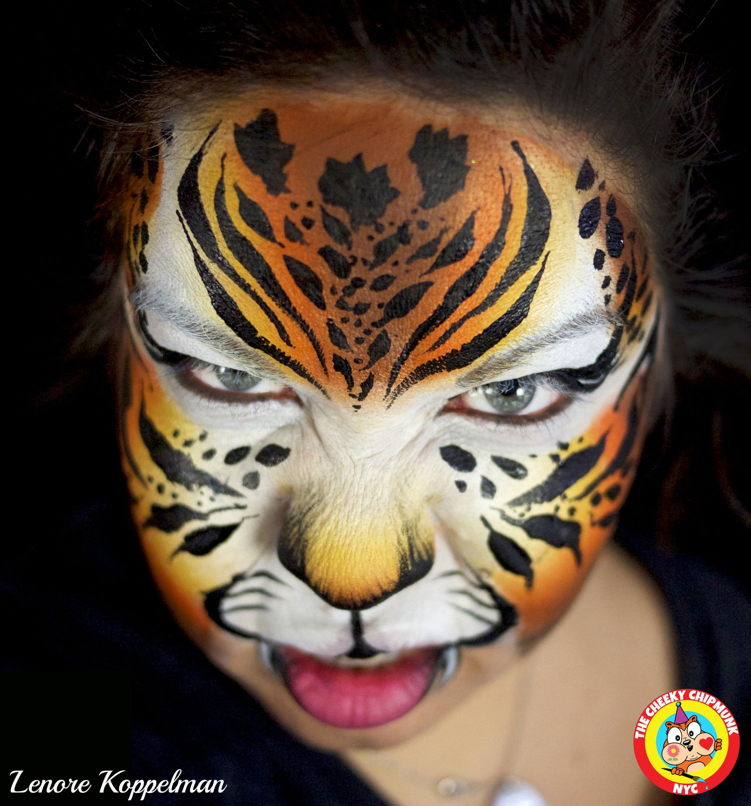 Roar tiger Belly painting, Face, Carnival face paint