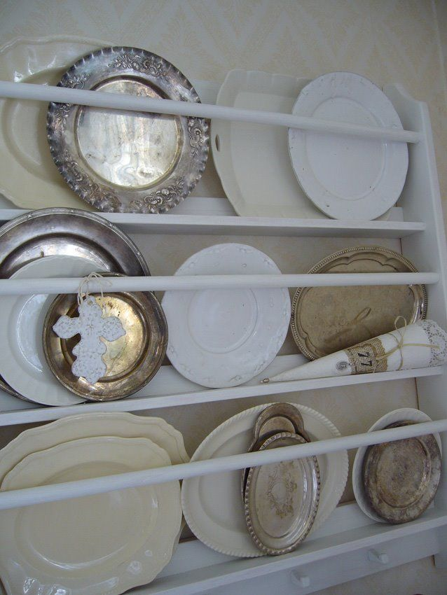 White ironstone and silver plate display.