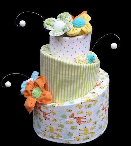 diaper cake, gender neutral baby gift, neutral safari baby shower, Baby shower invitation
