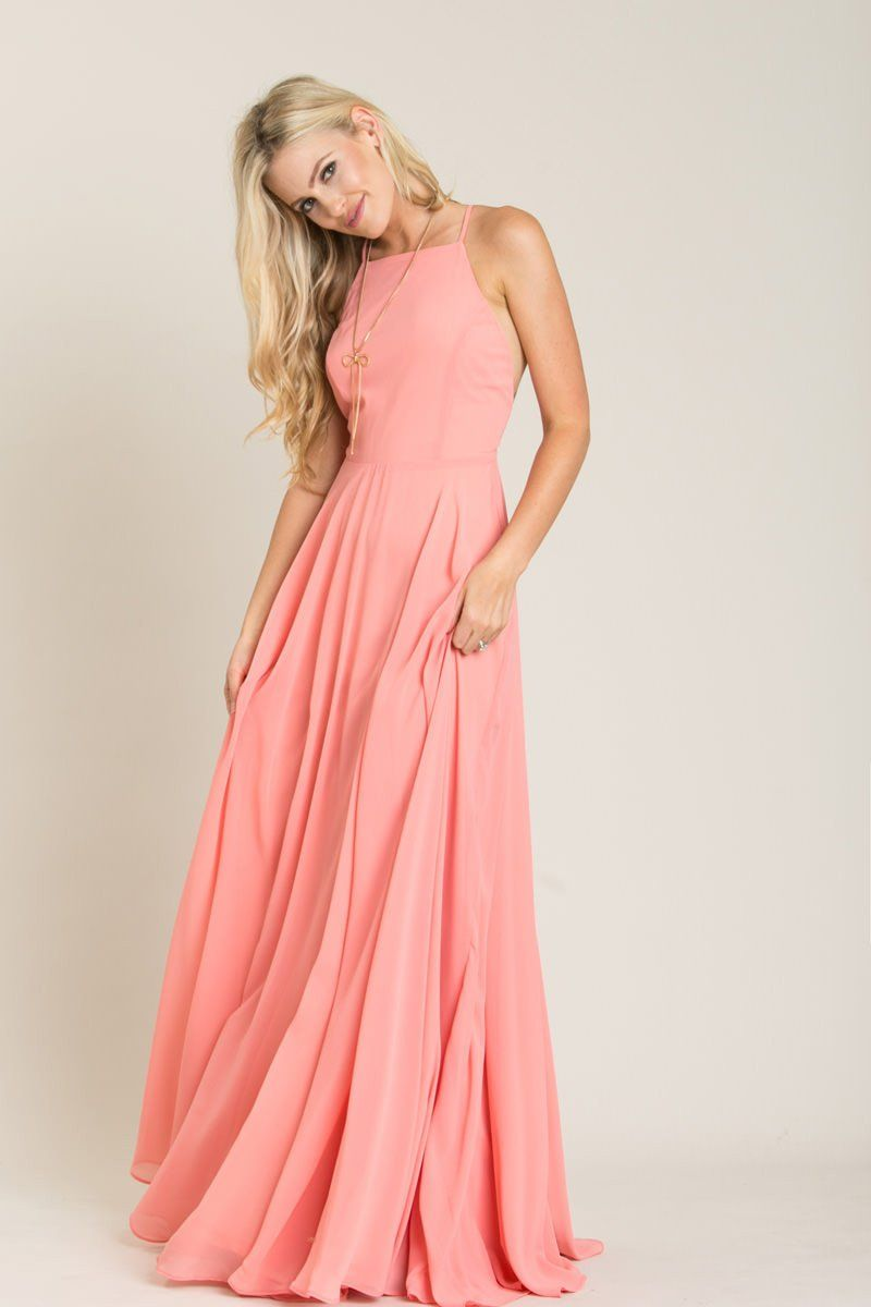 Emma Peach Flowy Maxi Dress