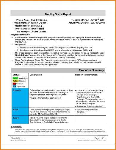 Monthly Status Report Template 3 Professional Templates