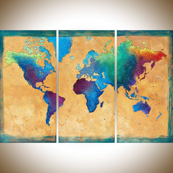 Vintage world Map painting set of 3 wall art hand paint green blue ...