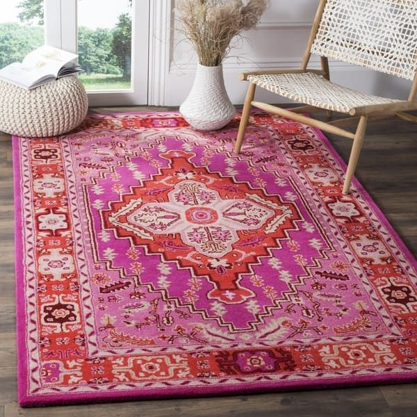 Safavieh Bellagio Contemporary Geometric Hand Tufted Wool Red Pink Area Rug 3