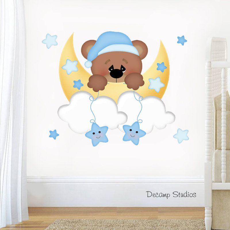Teddy Bear Nursery Decal Baby Boy Wall Art Cloud Star Moon Stickers Kids Mural