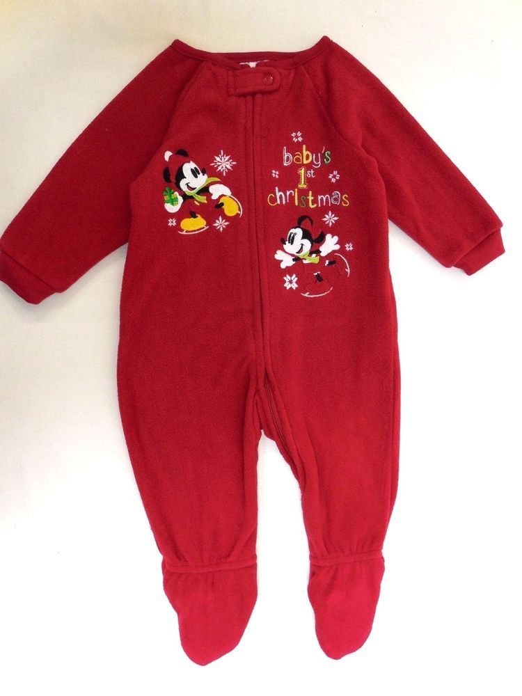 110b539ab7 Mickey and Minnie Mouse   Baby s 1st Christmas   Blanket Sleeper 6-9 Months  NEW  Disney  OnePiece