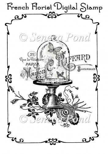 french florist digital stamp paper craft kits card making