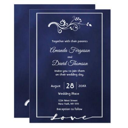 Wedding Invitation Card Midnight Blue And White Zazzle Com Simple Wedding Invitation Card White Wedding Invitations Diy Fine Wedding Invitations