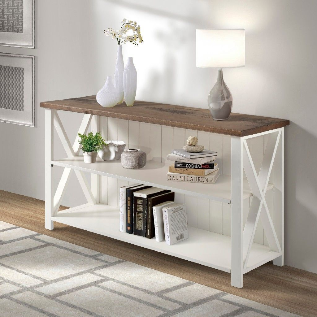 "52"" Solid Wood Farmhouse Storage Console in White"