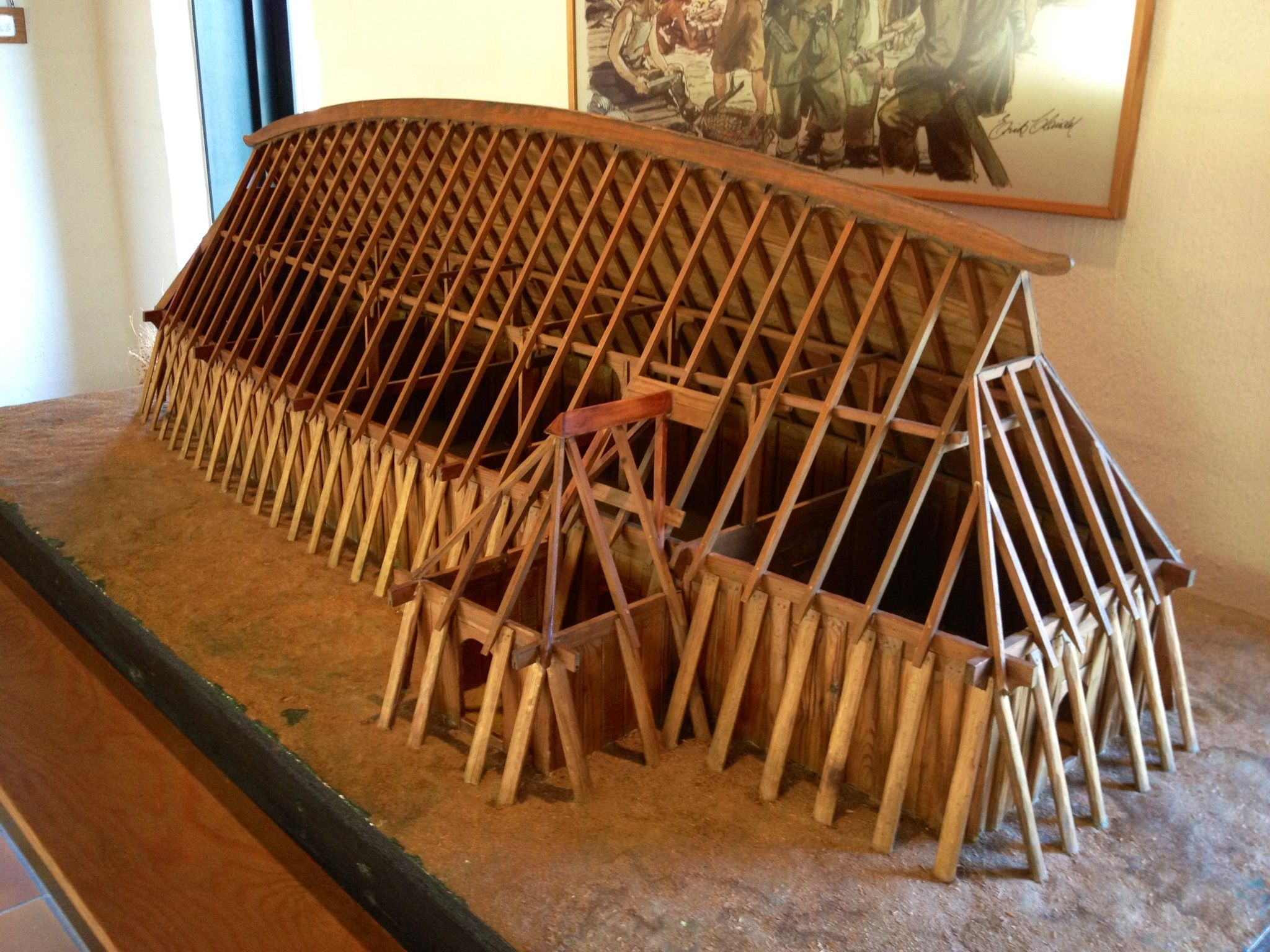 Model Of Viking Longhouse Fyrkat Museum Hobro Denmark