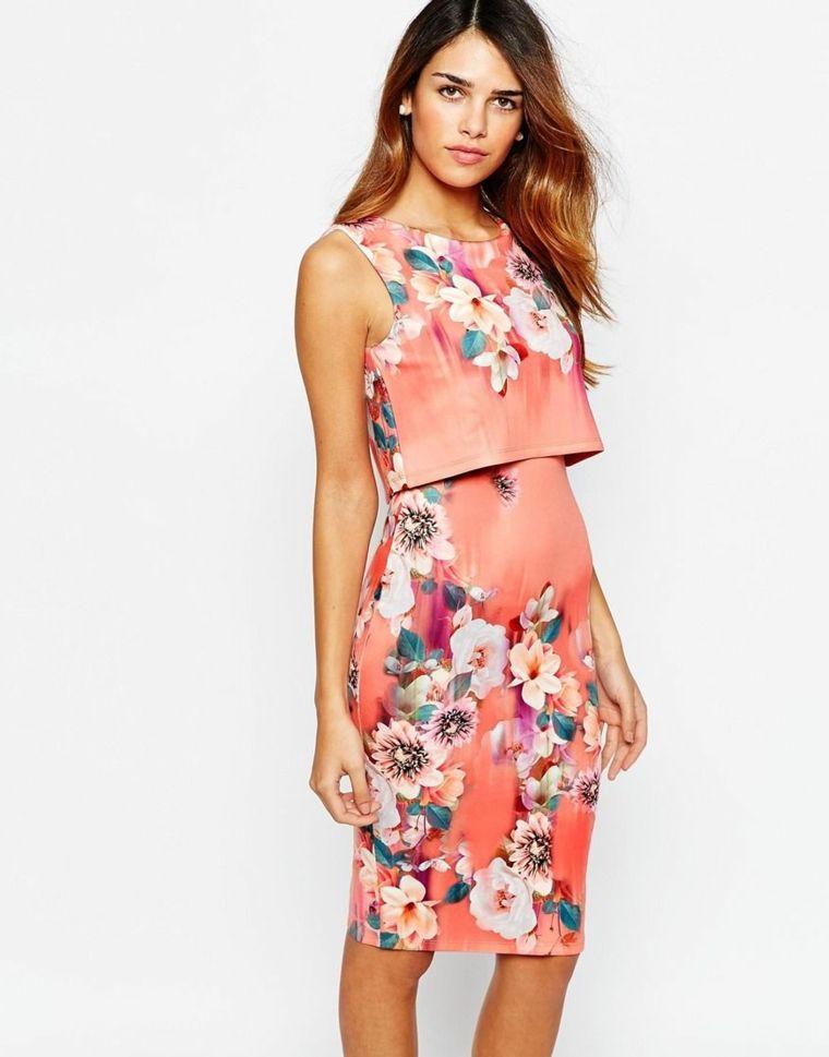 2e6d9da36648 Vestiti per cerimonia donna di colore rosa a due strati decorato con motivi  floreali