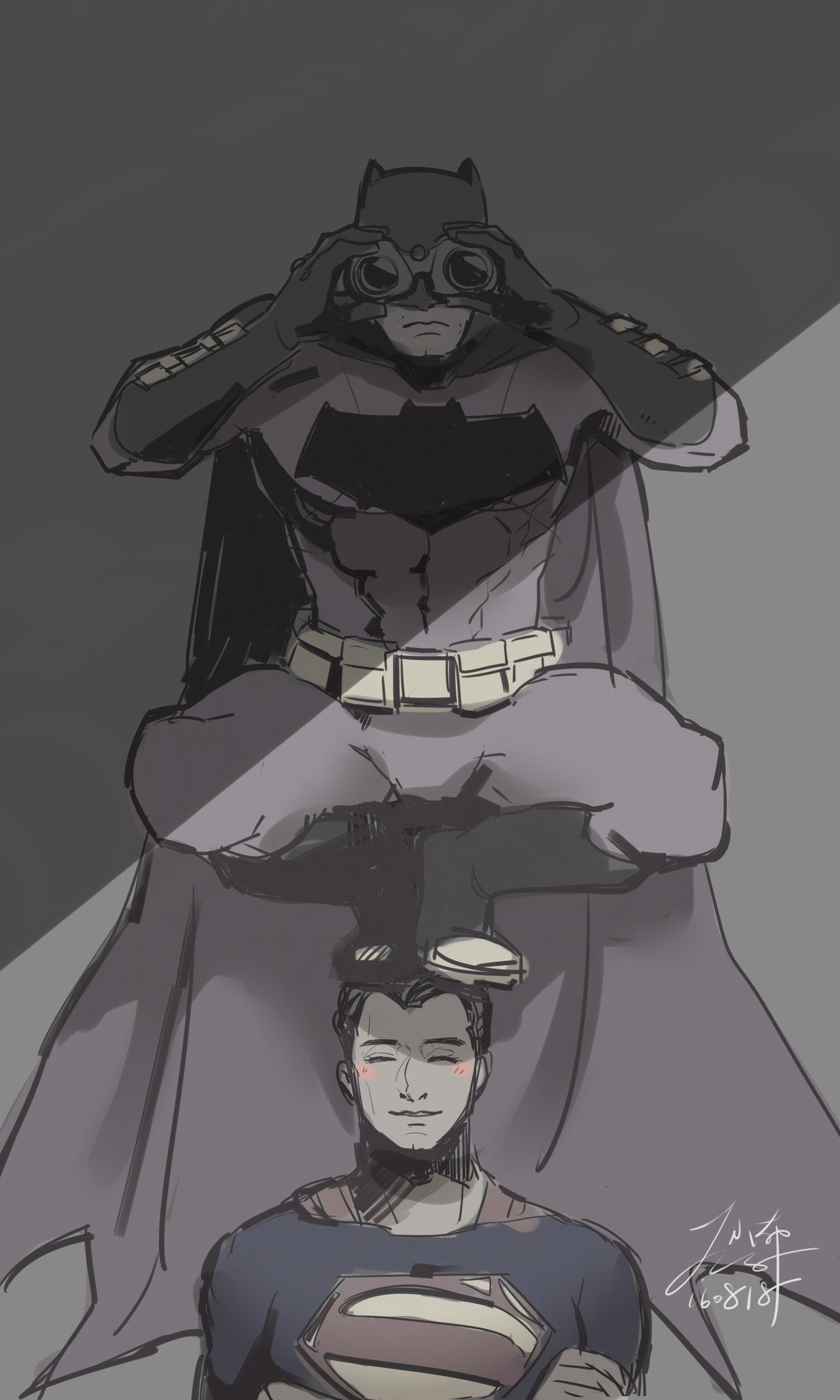 I just find this really funny, how Supes isn't even bothered by the fact that Batsy is stood on his head.