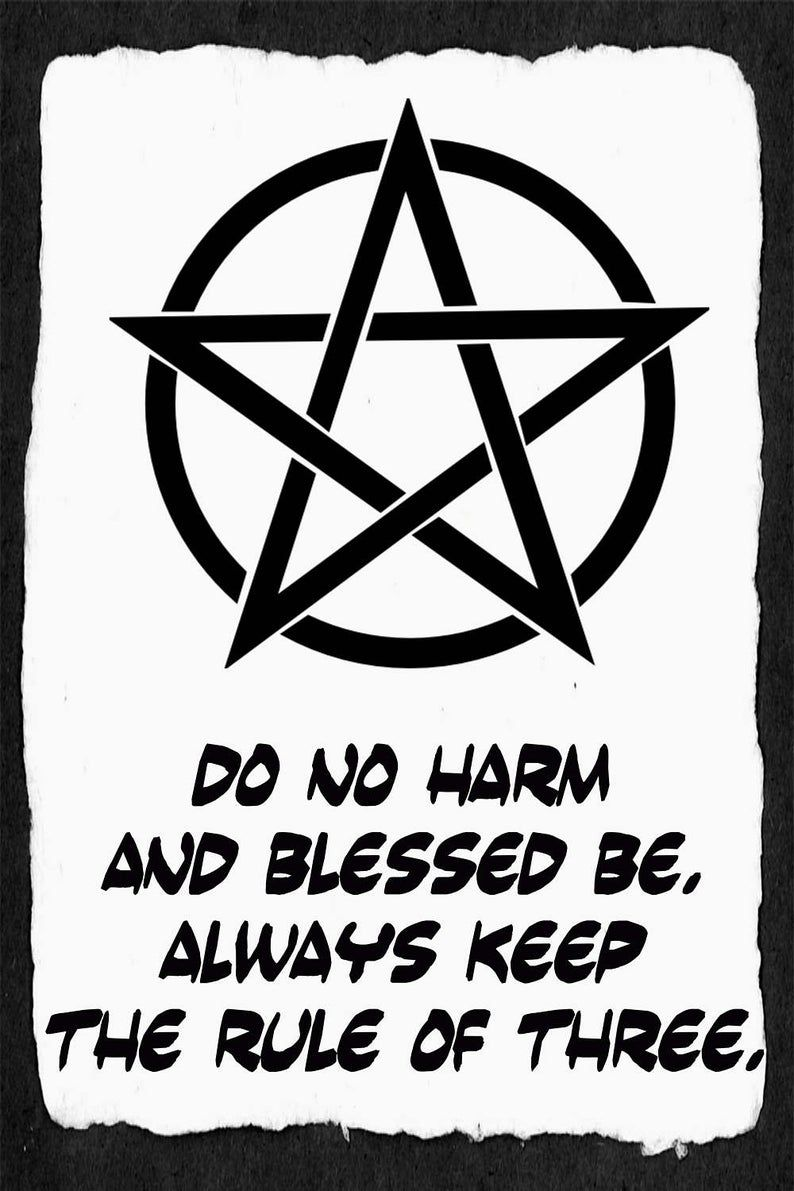 Items similar to Do No Harm Print, Pentacle Decor, Wiccan Rede, Blessed Be, Rule of Three, Witch Wall Art, Pentagram Print, Altar Decor, Grimoire, Book Magic on Etsy