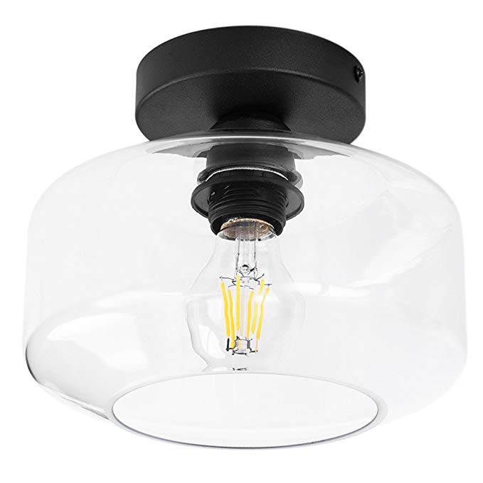 TeHenoo Industrial Ceiling Light Fixture with Clear Glass
