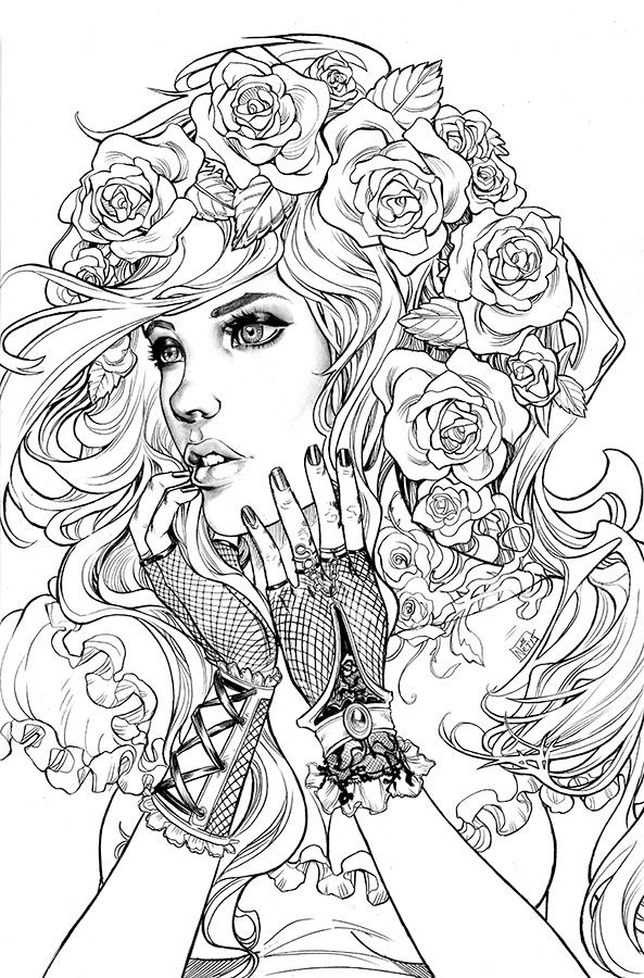 Femme Roses Mandala Coloriage Adulte A Imprimer Coloriage Manga