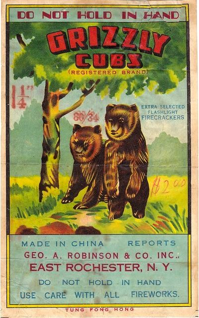 Grizzly Cubs vintage fireworks label