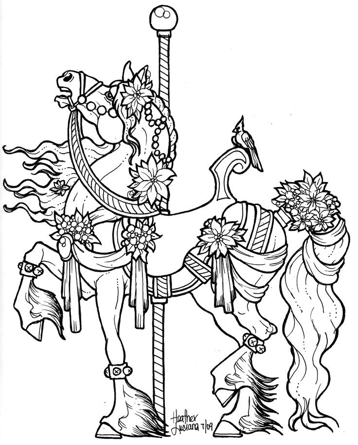 Horse Carousel Horse Carousel Colouring Pages With Images