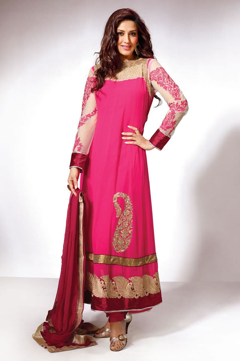 Designer partywear stylish sonali bendre straight salwarsuit