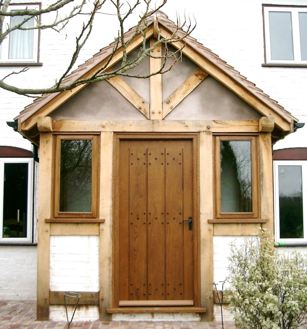 Wooden Front Porch Uk: Green Oak Porch With Rendered Lower Elevations