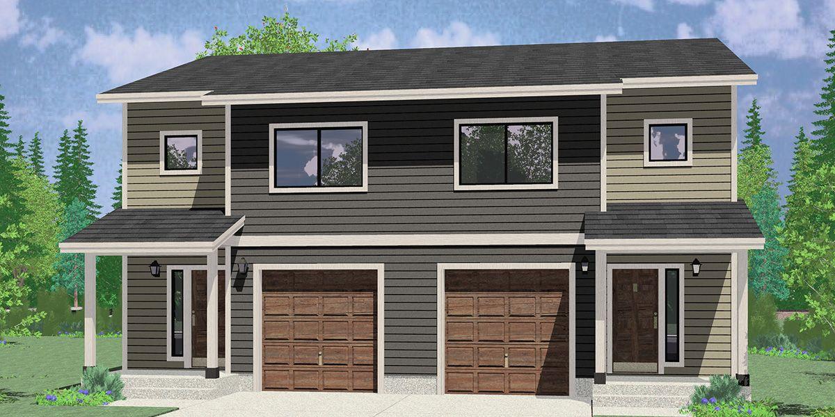 D 637 Duplex House Plan Zero Lot Line Townhouse D 637 Duplex House Plans Residential Architecture Duplex House
